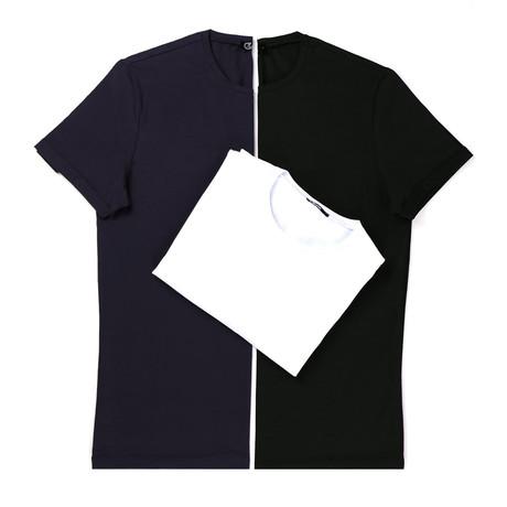Kael T-Shirt Set // Pack of 3 // Navy + Black + White (S)