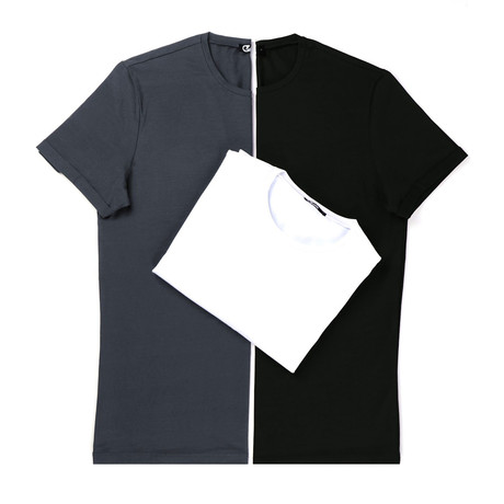 Aiden T-Shirt Set // Pack of 3 // Anthracite + Black + White (S)