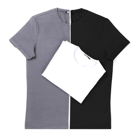 Miguel T-Shirt Set // Pack of 3 // Gray + Black + White (S)