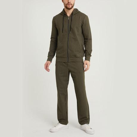 Braden Striped Sweatsuit Set // Olive (S)
