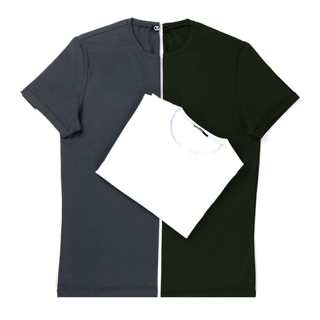 Rey T-Shirt Set // Pack of 3 // Anthracite + Green + White (S)