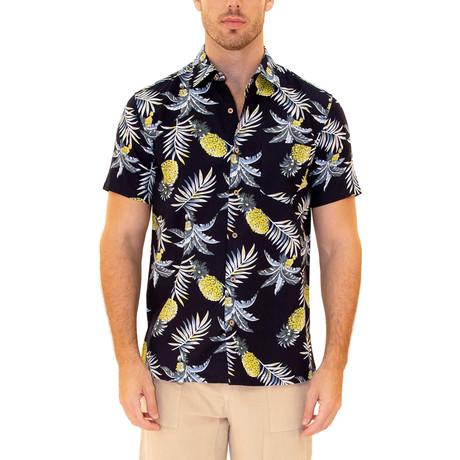 Lava Flow Hawaiian Shirt // Navy (S)