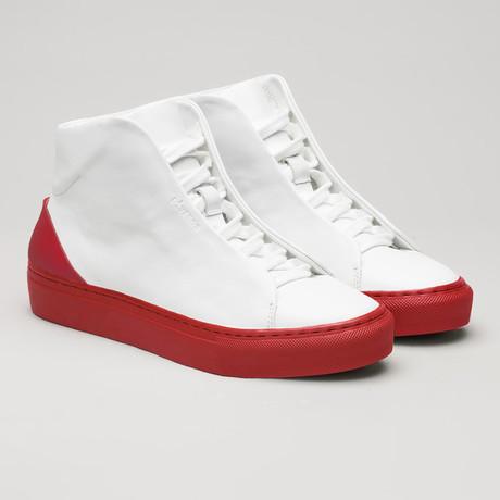 Minimal High V20 Vegan Sneakers // White + Red (Euro: 40)