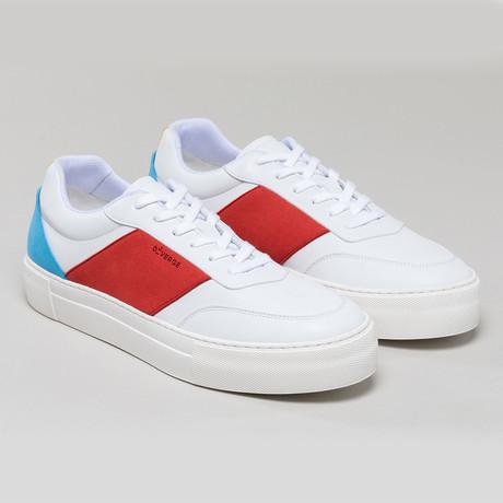 Now Vegan V4 Sneakers // White + Red + Bright Blue (Euro: 40)
