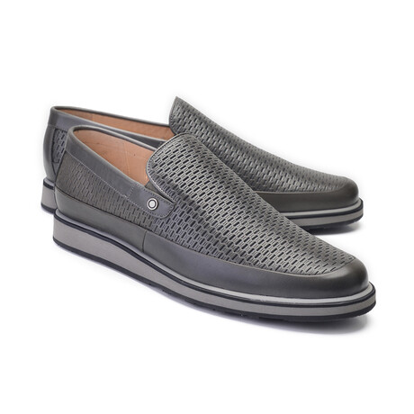 Perforated Leather Loafer // Gray (US: 7)