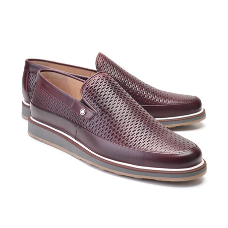 Perforated Leather Loafer // Burgundy (US: 7)
