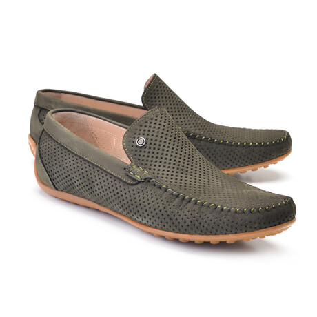 Perforated Leather Casual Driver // Green Nubak (US: 7)