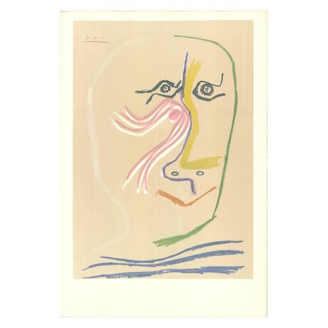 Pablo Picasso // Portrait of Rene Char (no text) // 1969 Lithograph