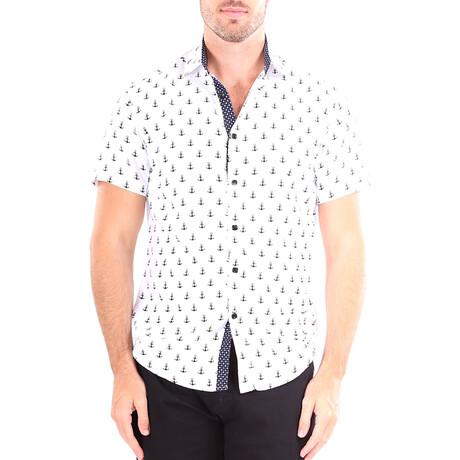 Anchor Short Sleeve Button Up Shirt // White (XS)