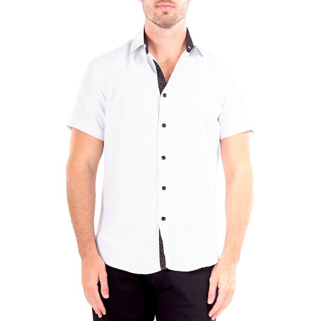 Dots Short Sleeve Button Up Shirt // White (XS)