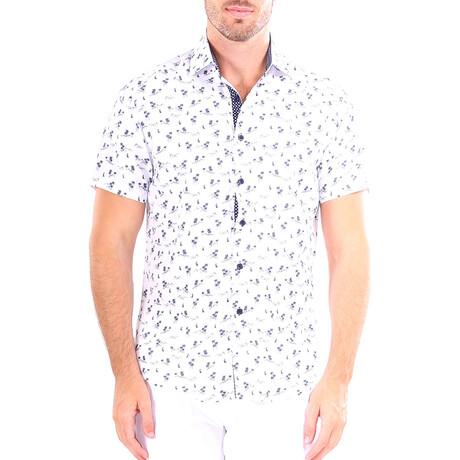 Palm Tree Short Sleeve Button Up Shirt // White (XS)