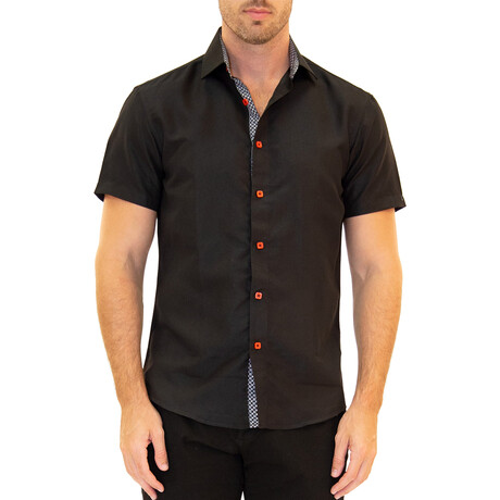 Solid Short Sleeve Button Up Shirt // Black + Red (XS)