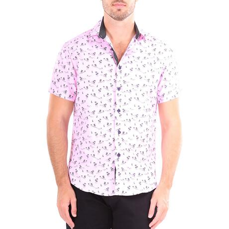 Palm Tree Short Sleeve Button Up Shirt // Pink (XS)