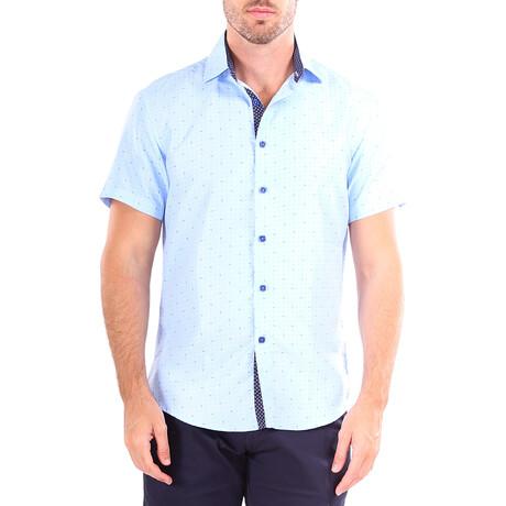Patterned Short Sleeve Button Up Shirt // Blue (XS)