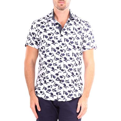 Tulip Short Sleeve Button Up Shirt // White (XS)
