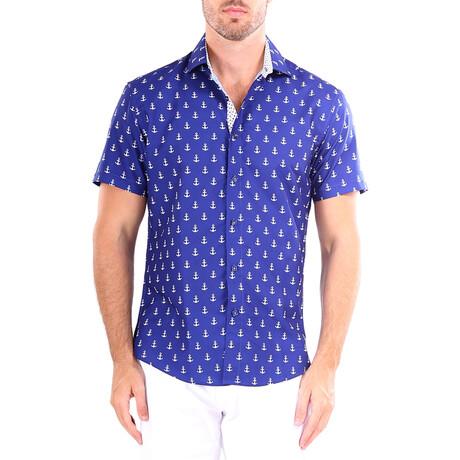 Anchor Short Sleeve Button Up Shirt // Navy (XS)