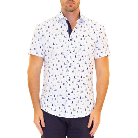 Catamaran Short Sleeve Button Up Shirt // White (XS)