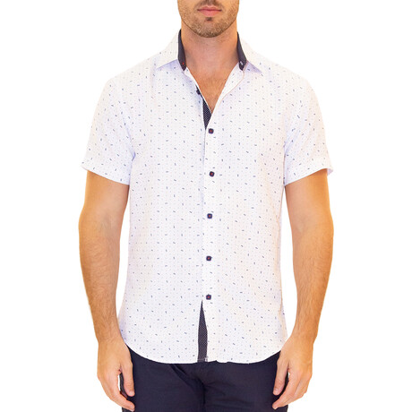 Patterned Short Sleeve Button Up Shirt // White (XS)
