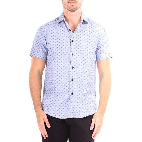 Fleur De Lis Short Sleeve Button Up Shirt // Blue (XS)