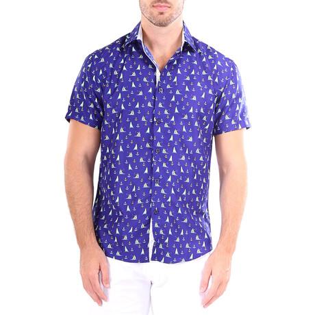 Catamaran Short Sleeve Button Up Shirt // Navy (XS)