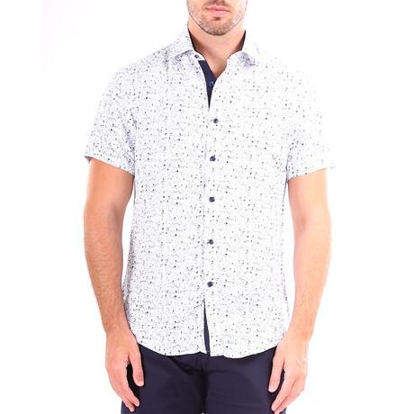 Scatter Short Sleeve Button Up Shirt // Navy (XS)