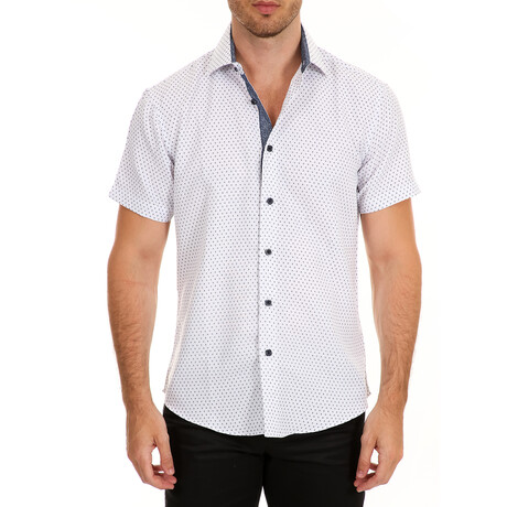 Diamond Short Sleeve Button Up Shirt // White (XS)
