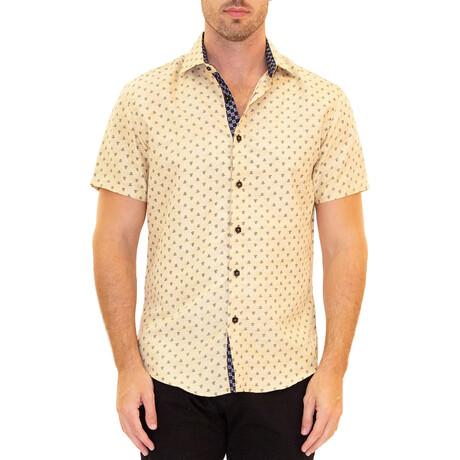 Fleur De Lis Short Sleeve Button Up Shirt // Yellow (XS)