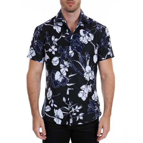 Floral Short Sleeve Button Up Shirt // Navy + White (XS)