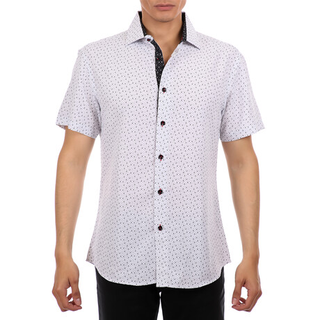Tiny Anchor Short Sleeve Button Up Shirt // White (XS)