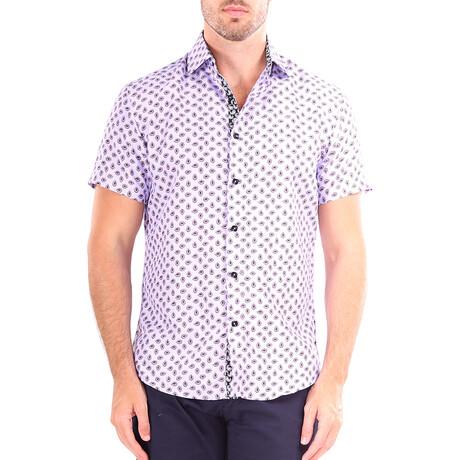 Paisley Short Sleeve Button Up Shirt // Pink (XS)
