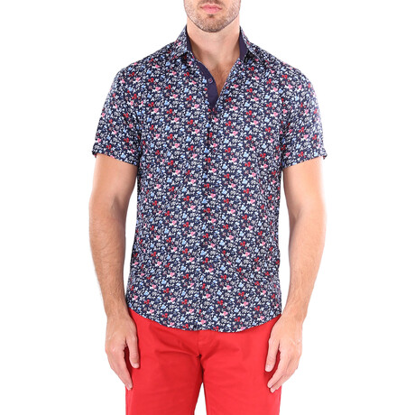 Floral Short Sleeve Button Up Shirt // Navy (XS)