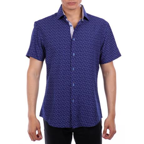 Tiny Anchor Short Sleeve Button Up Shirt // Navy (XS)