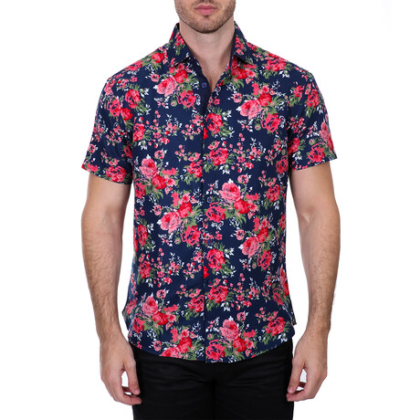 Floral Short Sleeve Button Up Shirt // Navy + Red (XS)