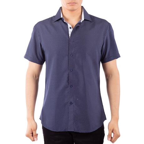 Tiny Dot Short Sleeve Button Up Shirt // Navy (XS)