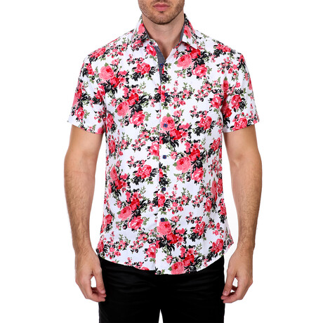 Floral Short Sleeve Button Up Shirt // White + Red (XS)