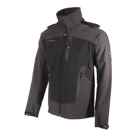 Hooded Two-Tone Cresta Zipper Jacket // Black + Gray (S)