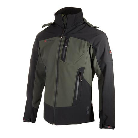 Hooded Two-Tone Cresta Zipper Jacket // Olive + Black (S)