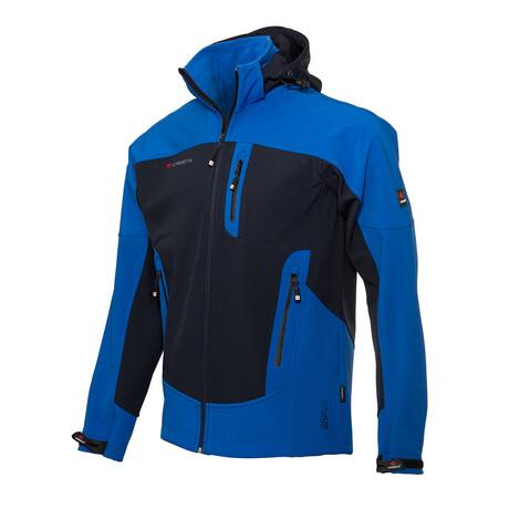 Hooded Two-Tone Cresta Zipper Jacket // Dark Blue (S)
