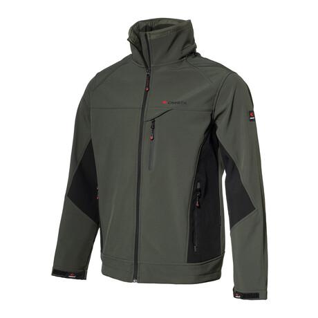 Dual-Tone Cresta Zip Jacket // Khaki Olive + Black (S)