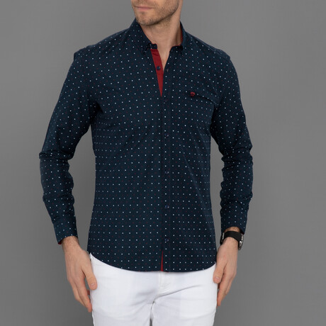 Francesco Button Down Shirt // Navy Plaid (S)