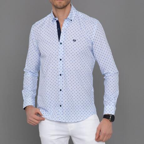 Lucerne Button Down Shirt // Sax + White (S)