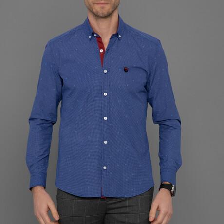 Albi Button Down Shirt // Sax + White (S)