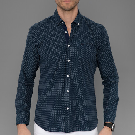 Chartres Button Down Shirt // Navy + Gray (S)
