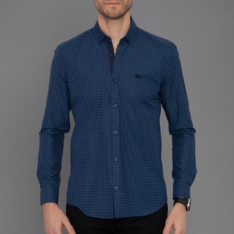 Arles Button Down Shirt // Navy Plaid (S)