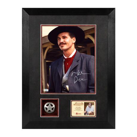 Val Kilmer // Autographed Tombstone Doc Holliday Framed Photo + Deputy Badge