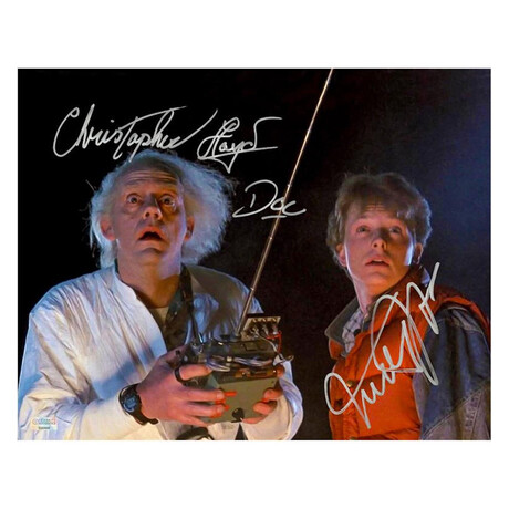 Michael J. Fox + Christopher Lloyd // Autographed Back to the Future Marty McFly + Doc Brown Controls Photo