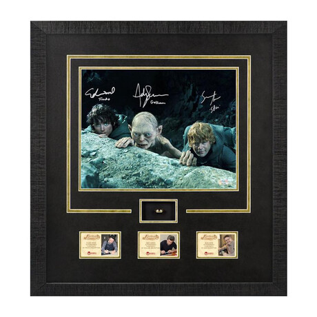 Elijah Wood + Sean Astin + Andy Serkis // Autographed Lord of the Rings Scene Framed Photo