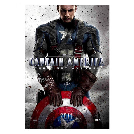 Chris Evans + Dominic Cooper // Autographed Captain America: The First Avenger Original Movie Poster