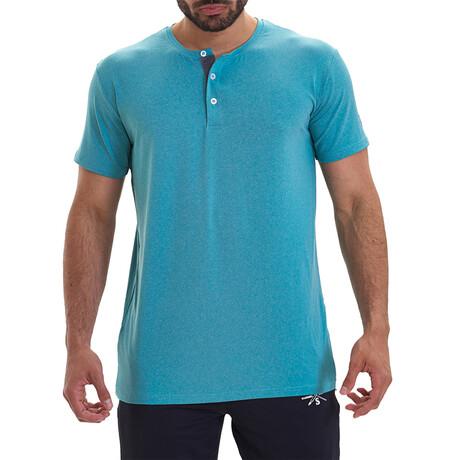 Vix Short Sleeve Active Henley // Blue (S)