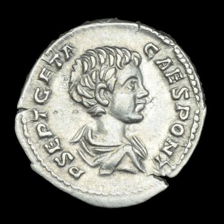 Roman Imperial Silver Denarius // Emperor Geta. III Century A.D.